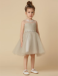 cheap -Princess Knee Length Flower Girl Dress - Satin Sleeveless Scoop Neck with Appliques Sash / Ribbon Criss Cross by LAN TING BRIDE®