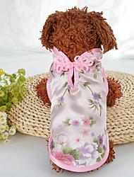 abordables -Chiens Chats Manteaux Vêtements pour Chien Broderie Vert Rose Soie Costume Pour les animaux domestiques Femme Elégant Ethnique