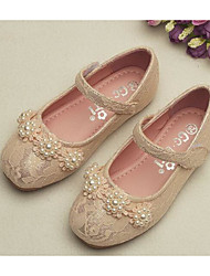 cheap -Girls' Shoes Lace Spring Comfort / Flower Girl Shoes Flats for White / Pink