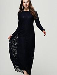 preiswerte -Damen Festtage Baumwolle Etuikleid T Shirt Kleid - Spitze, Solide Maxi
