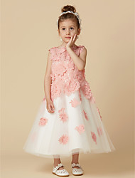 cheap -A-Line Knee Length Flower Girl Dress - Lace Tulle Sleeveless Jewel Neck with Lace by LAN TING BRIDE®