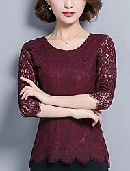 baratos -Mulheres Blusa Básico Renda,Floral