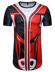 baratos -Homens Camiseta - Esportes Moda de Rua Estampado, Listrado / Estampa Colorida / Animal Algodão Decote Redondo / Manga Curta / Longo