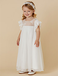 cheap -Sheath / Column Ankle Length Flower Girl Dress - Chiffon / Lace Short Sleeve Jewel Neck with Pleats by LAN TING BRIDE®
