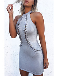 baratos -Mulheres Sofisticado Moda de Rua Tubinho Vestido Sólido Mini