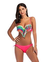 cheap -Women's Boho Strap Off Shoulder Plunging Neckline Bikini - Floral Geometric Color Block Backless Tassel Print Lace up Thong