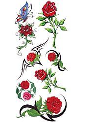 Недорогие -1 pcs Временные тату Временные татуировки Тату с цветами Водонепроницаемый Искусство тела Корпус / рука / плечо