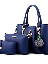 baratos -Mulheres Bolsas PU Conjuntos de saco 3 Pcs Purse Set Laço(s) / Penas / Pêlo Preto / Azul Escuro / Cinzento Escuro