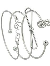 abordables -Femme Empiler Manchettes Bracelets - Ananas, Nœud Rétro, Basique Bracelet Or / Argent Pour Rendez-vous / Plein Air / 3pcs
