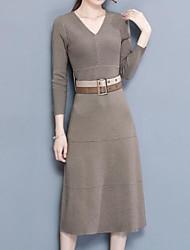 preiswerte -Damen Grundlegend Hülle Strickware Kleid Solide Knielang