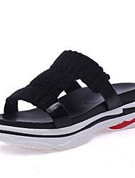cheap -Women's Shoes Silk Summer Comfort Slippers & Flip-Flops Flat Heel Round Toe for White Black Gray Fuchsia