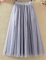 Недорогие -Жен. Тюлевая юбка А-силуэт Подол, На выход Однотонный Сетка Белый Черный Серый M L XL