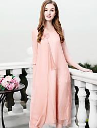 baratos -Mulheres Sofisticado Temática Asiática Evasê Vestido - Bordado, Sólido Médio