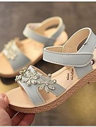 cheap -Girls' Shoes Leatherette Summer Flower Girl Shoes Sandals Flower for Kid's Casual Beige / Pink / Light Blue