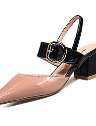 cheap -Women's Shoes Patent Leather Summer Comfort Heels Low Heel Round Toe Black / Beige / Pink