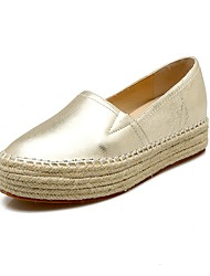 cheap -Women's Shoes Cowhide Spring / Fall Comfort / Gladiator Loafers & Slip-Ons Creepers Round Toe Gold / Silver