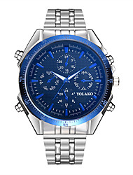 cheap -Men's Quartz Casual Watch Chinese Large Dial Stainless Steel Band Fashion Silver