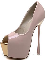 preiswerte -Damen Schuhe Lackleder Frühling Sommer Pumps Gladiator Sandalen Stöckelabsatz Peep Toe für Party & Festivität Schwarz Rot Mandelfarben