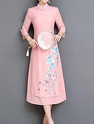 baratos -Mulheres Sofisticado Temática Asiática Bainha Vestido - Bordado, Floral Médio