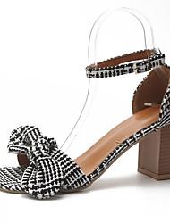 povoljno -Žene Cipele PU Tkanina Proljeće Ljeto Udobne cipele Sandale Kockasta potpetica Trg Toe Mašnica za Kauzalni Crn
