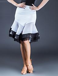 abordables -Danse latine Bas Femme Utilisation Soie Glacée Combinaison Gland Taille moyenne Jupes