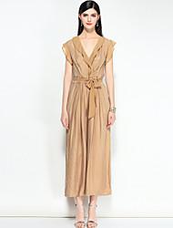 abordables -Femme Rétro Bohème Mince Combinaison-pantalon - A Volants, Rayé Couleur unie Col en V