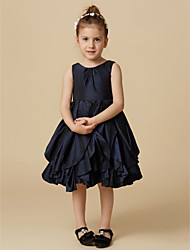 cheap -A-Line Knee Length Flower Girl Dress - Taffeta Sleeveless Jewel Neck with Buttons by LAN TING BRIDE®