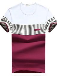 cheap -Men's Sports Basic Cotton Slim T-shirt - Striped Round Neck