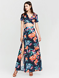 preiswerte -Damen Bodycon Hülle Kleid Blumen Maxi V-Ausschnitt