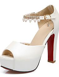 preiswerte -Damen Schuhe Künstliche Mikrofaser Polyurethan Frühling / Herbst Komfort / Neuheit Sandalen Blockabsatz Peep Toe Strass / Perle / Schnalle