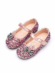 cheap -Girls' Shoes PU Spring Fall Flower Girl Shoes Flats for Casual Gold Silver Pink