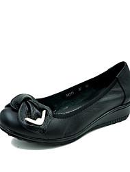 Недорогие -Жен. Обувь Кожа Весна / Осень Удобная обувь Мокасины и Свитер На плоской подошве Круглый носок Бант Черный / Оранжевый / Зеленый