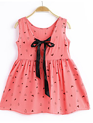 cheap -Girl's Daily Holiday Galaxy Dress, Cotton Polyester Summer Sleeveless Active Blushing Pink Fuchsia