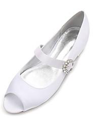 cheap -Women's Shoes Satin Spring / Summer Comfort / Ballerina Wedding Shoes Flat Heel Peep Toe Rhinestone / Sparkling Glitter / Ribbon Tie Blue