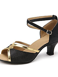 cheap -Women's Latin Shoes Leatherette Sandal Outdoor / Professional Low Heel Customizable Dance Shoes Gold / Black / Silver