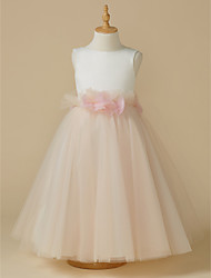 cheap -A-Line Tea Length Flower Girl Dress - Satin / Tulle Sleeveless Jewel Neck with Bow(s) / Flower by LAN TING BRIDE®