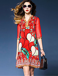 cheap -Women's Holiday Sophisticated Street chic Loose Loose Dress - Floral Red, Print V Neck