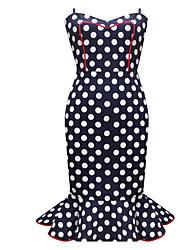 abordables -Femme Soirée Basique Chic de Rue Mince Moulante Robe - A Volants, Points Polka Taille haute A Bretelles Sans Bretelles Bateau Midi