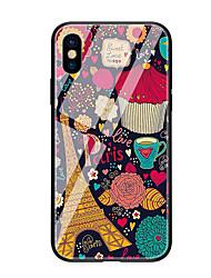 Недорогие -Кейс для Назначение Apple iPhone X iPhone 8 С узором Кейс на заднюю панель Эйфелева башня Твердый Закаленное стекло для iPhone X iPhone 8