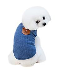 baratos -Cachorros Camisetas Roupas para Cães Sólido Desenho Animado Cinzento Azul Tecido Alcochoado Ocasiões Especiais Para animais de estimação
