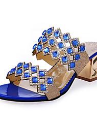 baratos -Mulheres Sapatos Courino Primavera / Verão Conforto / Inovador / Botas da Moda Sandálias Salto Robusto Vermelho / Verde / Azul