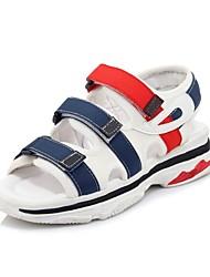 Недорогие -Жен. Обувь Материал на заказ клиента Лето Удобная обувь Сандалии На плоской подошве Открытый мыс Белый / Черный / Красный