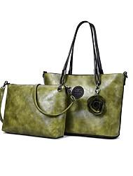 baratos -Mulheres Bolsas PU Leather Conjuntos de saco 2 Pcs Purse Set Flor Vermelho / Rosa / Marron