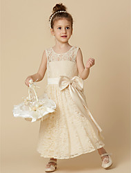 cheap -A-Line Tea Length Flower Girl Dress - Lace Sleeveless Jewel Neck with Bow(s) / Sash / Ribbon by LAN TING BRIDE®