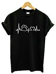 abordables -Tee-shirt Femme, Fleur Imprimé Actif