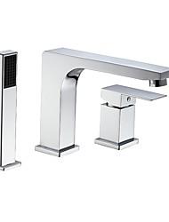 abordables -Robinet de baignoire - Moderne Chrome Baignoire romaine Soupape céramique Bath Shower Mixer Taps / Deux poignées trois trous