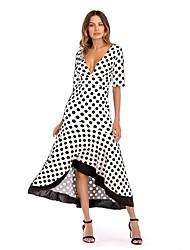 cheap -Women's Going out Street chic Slim Sheath Swing Dress - Polka Dot High Waist Asymmetrical Deep V