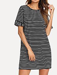 cheap -Women's Holiday T Shirt Dress - Striped Print