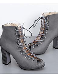 povoljno -Žene Cipele Nubuk koža Proljeće Jesen Modne čizme Čizme Kockasta potpetica Čizme gležnjače / do gležnja za Kauzalni Crn Sive boje