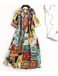 cheap -Miss French Women's Vintage Street chic A Line T Shirt Dress - Geometric